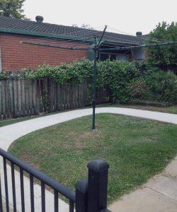 curved concrete path clothesline